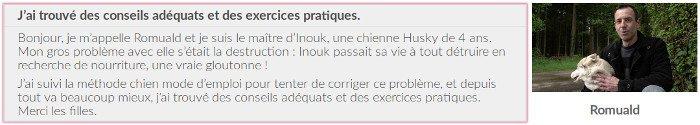 Avis et témoignage d'un client des vidéos du site chienmodedemploi.fr
