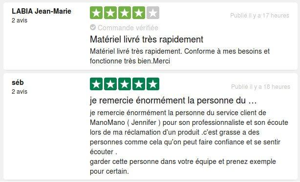 Avis et retour d'expérience de Sébastien et Jean-Marie suite à leurs achats sur manomano.fr