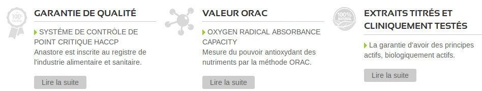 HACCP, valeur ORAC et cliniquement testé offre une garantie de qualité