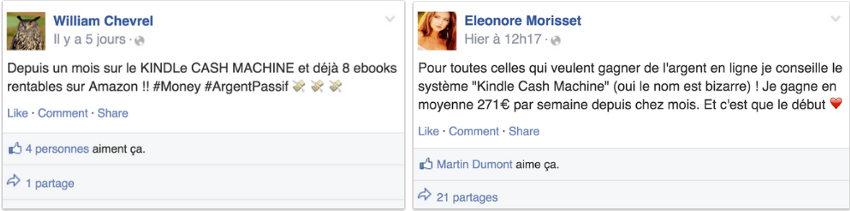 Avis Kindle Cash Machine : deux personnes partagent leur opinion sur Facebook