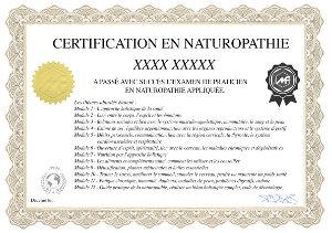Certificat d'aptitude à la fin des quiz : certifié naturopathe