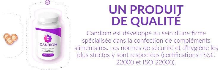 Complément alimentaire Candiom FSSC et ISO 22000